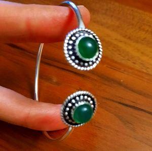 Faux green onyx silver plated cuff bracelet woman